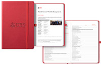 red journal with logo cover and custom interior pages