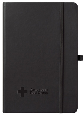 black journal with logo cover