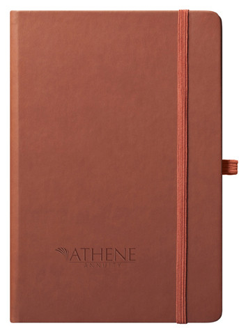 tan journal with logo cover