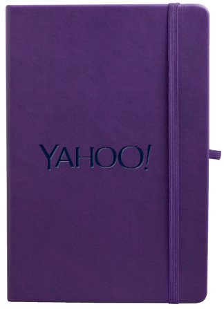 purple journal with logo cover