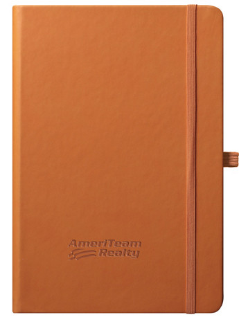 orange journal with logo cover