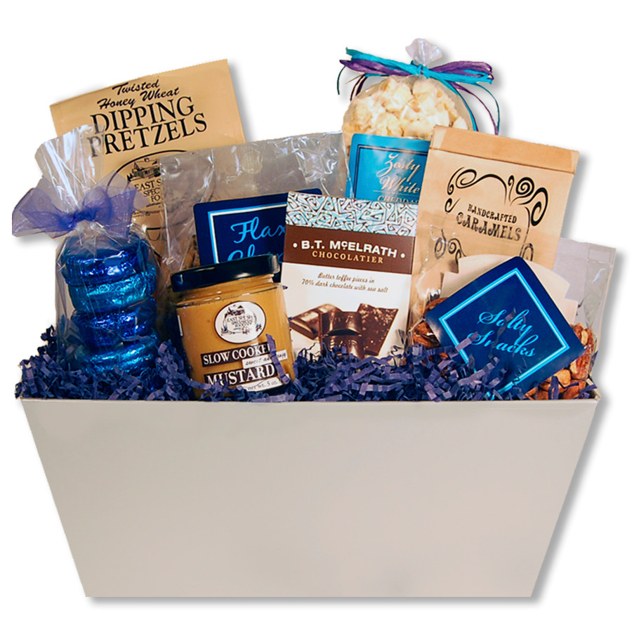 Company color themed gift basket presentation filled with candy, cookies, and other snacks ...