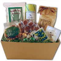 Gift basket arrangement with Minnesota wild rice, prairie corn, moose munch, snowball almonds, birch bark, and trail mix