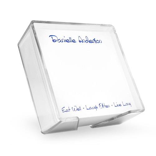 Personalized memo square presented in an acrylic holder
