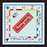 Handcrafted monopoly board that depicts life of recipient through accomplishments, trips, and important milestones