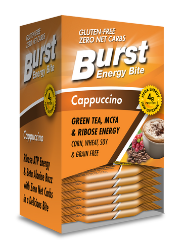 BURST Cappuccino Energy Bite is lovingly flavored with just a hint of coffee, and lightly sweetened with all-natural source sugars. A BURST Cappuccino Energy Bite is an ideal addition to your morning breakfast routine.