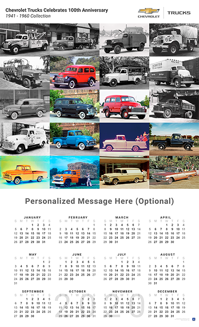 1960 Calendar.Chevrolet Trucks 1941 1960 Collection 2020 Wall Calendar
