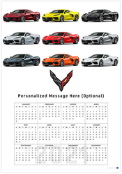 C8 Corvette Exterior Colors 2021 Wall Calendar