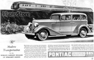 1933 Pontiac Eight 4-Door Sedan Ad Poster