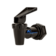 Black plastic water dispensing spigot has flip or push down lever on top used with Outback gravity flow water purification systems