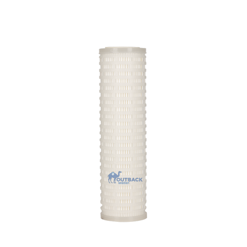 "Standard size electro adhesion and ultra filtration water filter 10"" tall x 2.5"" diameter white end caps with white pleated body provides high flow while removing a wide range of microbiological contaminants"