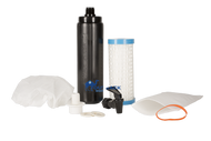 Water purification filters, dispensing spigot and filter connector required to assemble gravity flow self preparedness water purification system