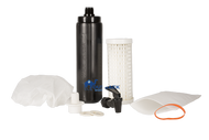Four water filters, filter connector and dispensing spigot to be used to build a non electrical gravity flow off the grid water purification system