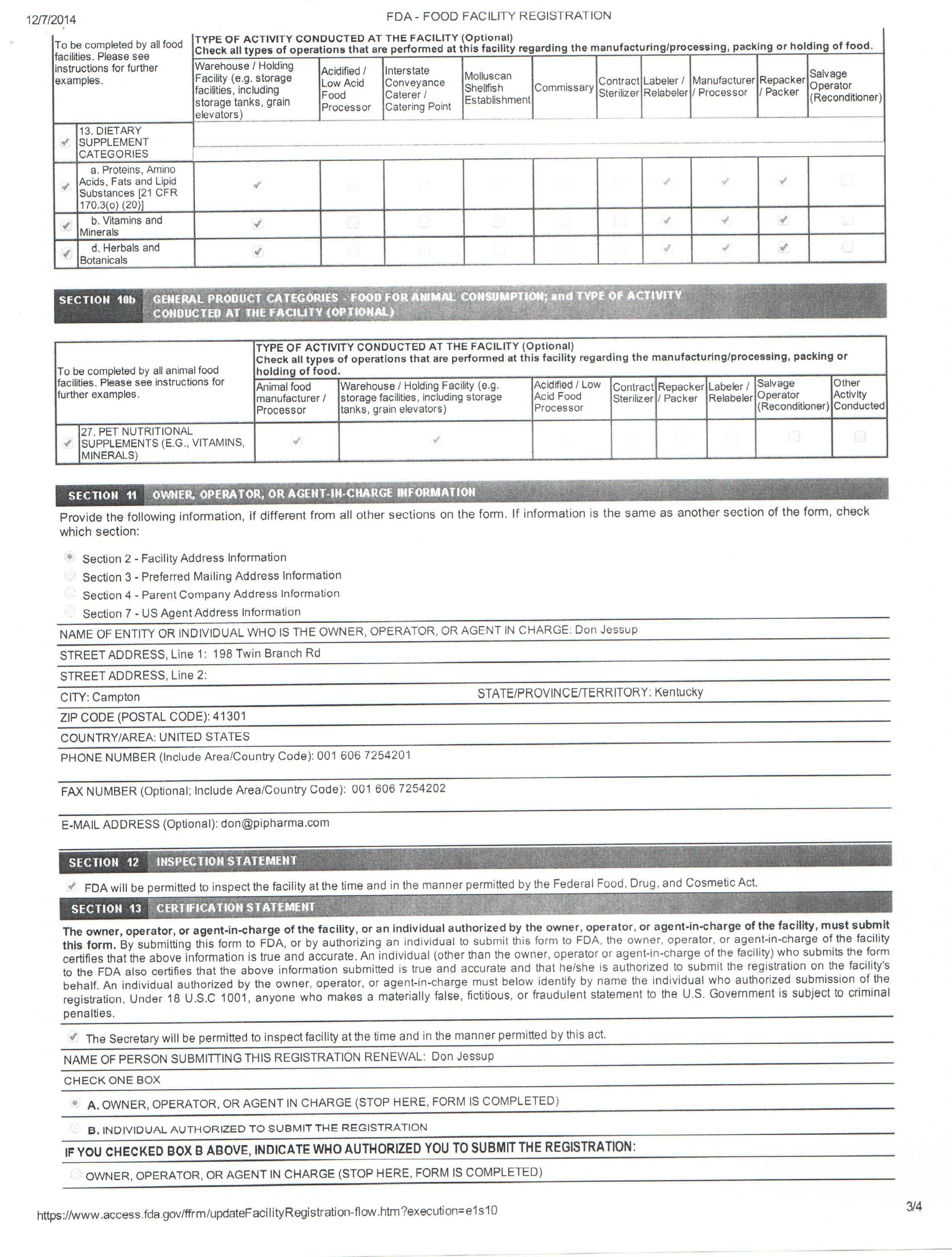 FDA Registration Certification