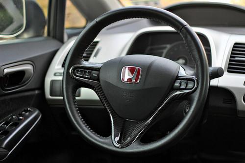 06-11 Honda Civic Real Carbon Fiber Steering Wheel Trim