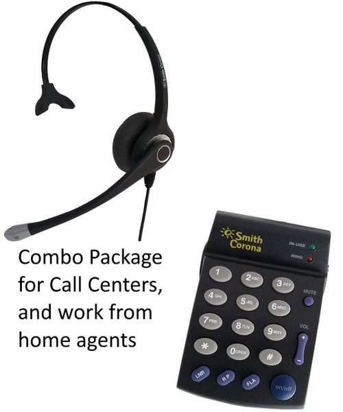 Single line telephone dial pad PD100 with Ultra Monaural headset by Smith Corona