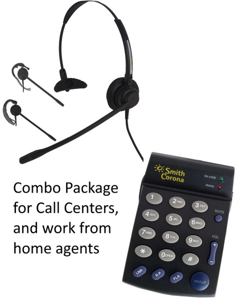 Classic Convertible headset with PD100 single line dial pad for work at home agents or call centers.