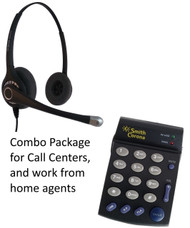 Single line telephone dial pad PD100 with binaural headset by Smith Corona