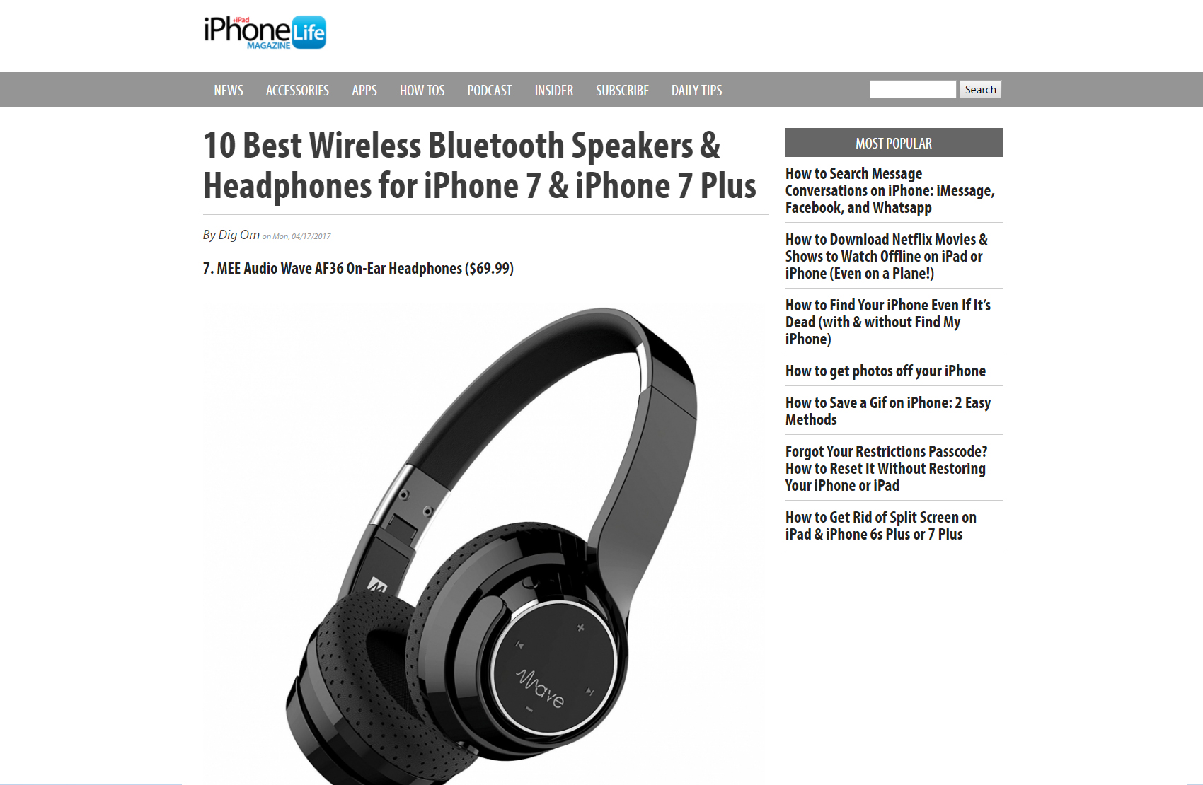 Wave Is Named One Of Iphonelife Magazine S 10 Best Wireless Bluetooth Speakers Headphones For Iphone 7 Iphone 7 Plus Mee Audio