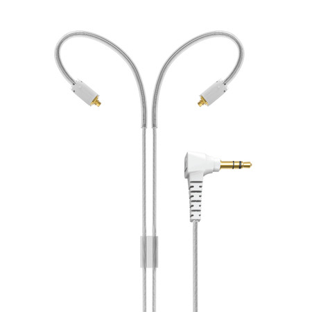 """MMCX Replacement Stereo Audio Cable with Memory Wire Earhooks for M7 PRO and Other In-Ear Headphones (51"""", Clear)"""