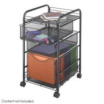Safco Onyx™ Mesh File Cart w. 1 File Dwr and 2 Small Drawers