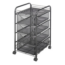 Safco Onyx™ Mesh File Cart with 4 Drawers
