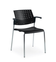Global SONIC-Stacking Armchair BLACK/BLACK 6513CH-BK/BK