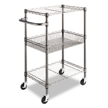 Alera Three-Tier Wire Rolling Cart, 24w x 16d x 39h, Black Anthracite