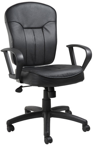 Boss Leather Task Chair W/ Loop Arms B1562