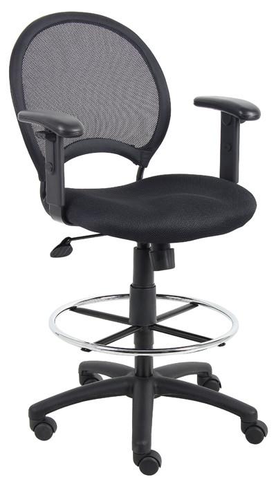 Astonishing Boss Mesh Drafting Stool W Adjustable Arms Creativecarmelina Interior Chair Design Creativecarmelinacom