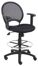 Boss Mesh Drafting Stool W/ Adjustable Arms B16216