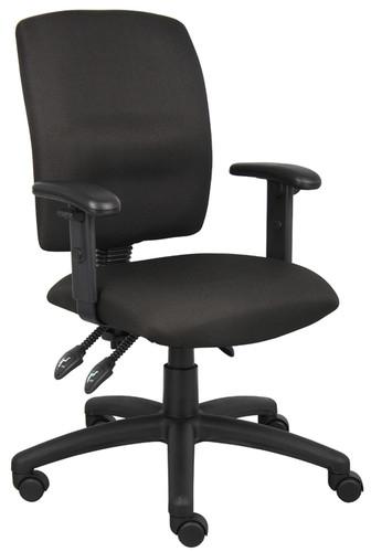 Boss Multi-Function Fabric Task Chair W/ Adjustable Arms B3036-BK