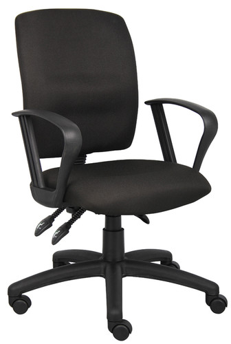 Boss Multi-Function Fabric Task Chair W/Loop Arms B3037-BK
