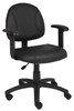 Boss Black Posture Chair W/ Adjustable Arms B306