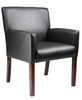 Boss Reception Box Arm Chair W/Mahogany Finish B629M