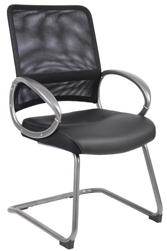 Boss Mesh Back W/ Pewter Finish Guest Chair B6409