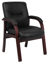 Boss Executive Leather Guest Chair W/ Mahogany Finished Wood B8909