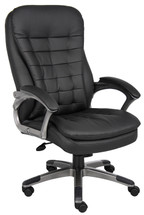 Boss High Back Executive Chair With Pewter Finished Base/Arms B9331