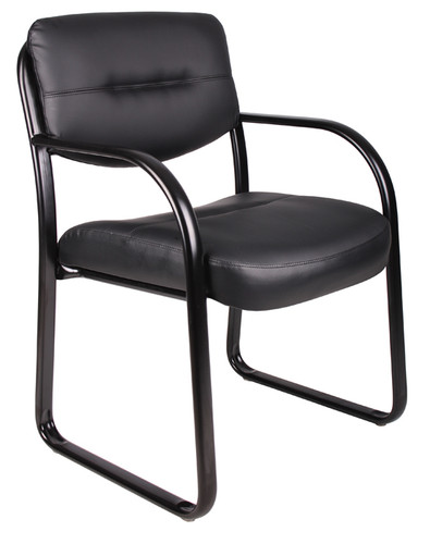 Boss Leather Sled Base Side Chair B9529
