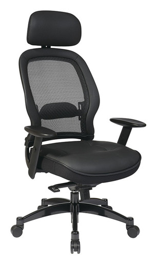 Office Star Breathable Mesh Back Chair with Adjustable Leather Headrest and Leather Seat 27008