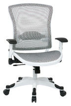 Office Star Managers Chair with Mesh Seat and Back, Height Adjustable Flip Arms and White Frame Finish 317W-W11C1F2W