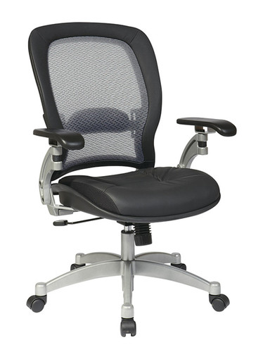 Office Star AirGrid® Back Chair with Leather Seat and Cantilever Arms 3680
