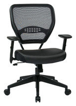 Office Star Professional Dark Air Grid® Back Managers Chair with Black Eco Leather Seat 5700E