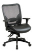 Office Star Breathable Mesh Back and Layered Leather Seat Ergonomic Chair with Adjustable Lumbar Support 68-50764