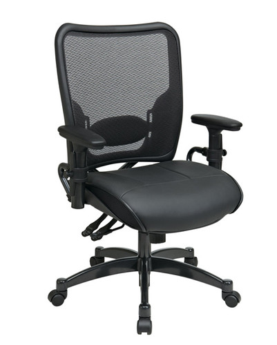 Office Star Dual Function Ergonomic AirGrid® Back and Leather Seat Chair 6876