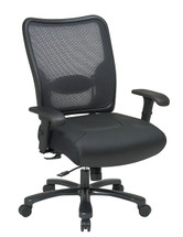 Office Star Big & Tall Double AirGrid® Back and Layered Leather Seat Ergonomic Chair 75-47A773