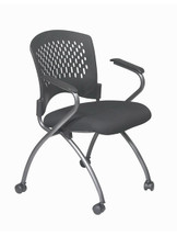Office Star Deluxe Folding Chair with Ventilated Plastic Wrap Around Back, (2-Pack) 84330-30