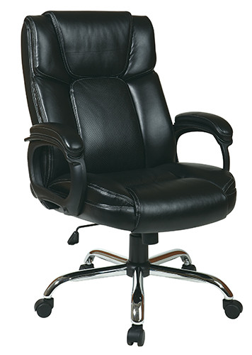 Office Star Executive Eco-Leather Big Man's Chair with Padded Loop Arms EC1283C-EC3