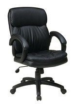 Office Star Mid Back Eco Leather Executive Chair with Padded Arms EC9231-EC3