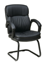 Office Star Eco Leather Visitors Chair with Padded Arms and Sled Base EC9235-EC3